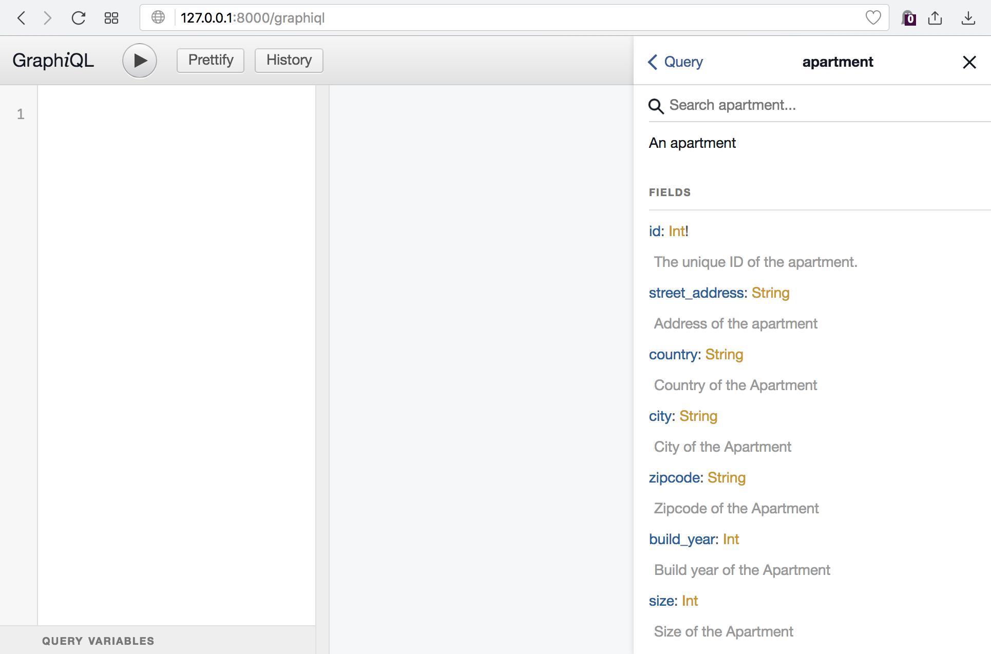 GraphiQL debugging interface